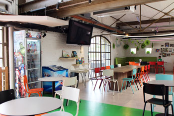 the cfae with colourful chairs and tables