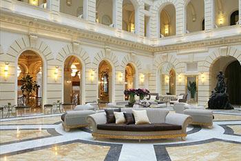The lofty main hall of the hotel