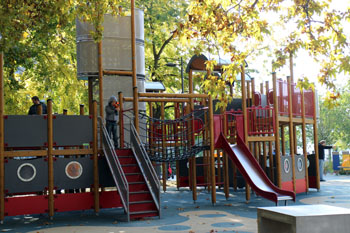 slides and other toys in the park