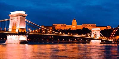 Buda Castle and the Chain bridge at the blue hour