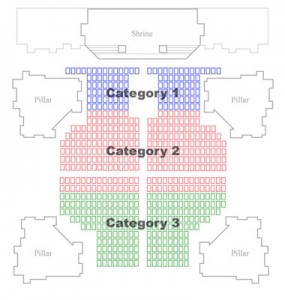 color coded seat map of the basilica concert