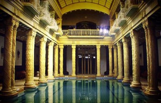 the beautiful architecture of a spa in Budapest