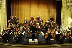 a symphony orchestra performing on stage in Danube Palace
