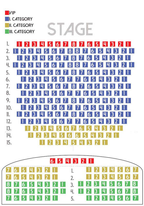color-coded seat map in the Danube Palace's concert hall