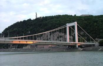 Gellért Hill in Buda and the Erzsébet bridge