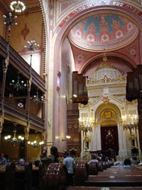 the domed interior of the synagogue with visitors