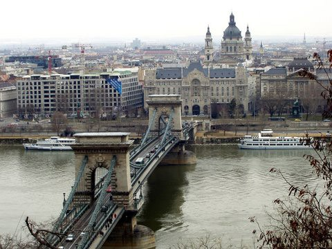 Danube with the bridges, boats and St. Stephen Basilica