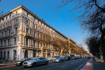 the hotel's building on busy Andrassy av., on a clear autumn day
