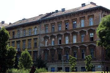 a brown rundown building