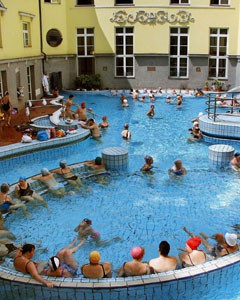 Lukacs spa: bathers in the open air pool