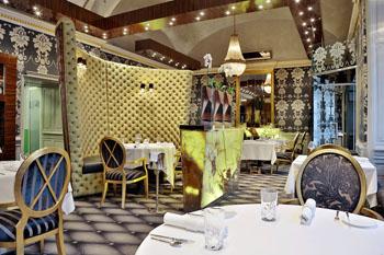 the elegant dining room of the Onyx restaurant