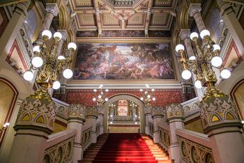 The ornate staircase of the Pesti Vigadó