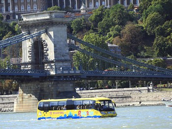 the yellow water bus at the Chain Bridge