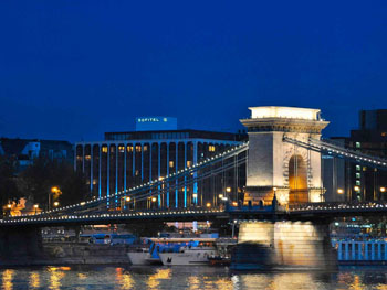 Sofitel hotel and the Chain bridge in the foreground at dusk