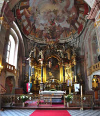 ornate main aisle of the church