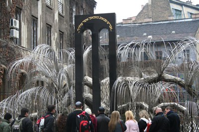 Emanuel Tree of Life - a weeping willow made of chrome steel by Imre Varga commemorating the 600 thousand Hungarian victims of the Holocaust