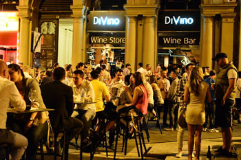 DiVino's terrace packed with people at night