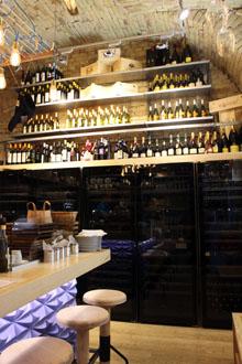 vaulted interior, bar stools, undercounterwine fridges