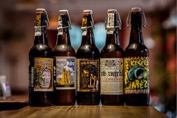 5 Hungarian craft beers in 0,3 l brown bottles