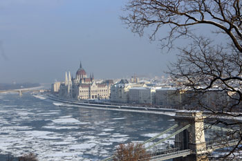 the Parliament from Buda and the icy Danube