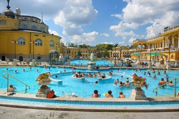 bathers in Szechenyi spa's outdoor pools