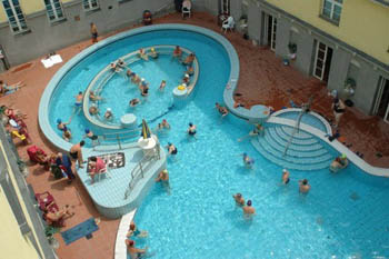 the outdoor pool from above