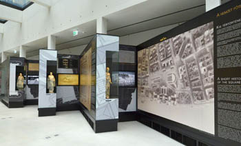 displays showing photos abot the various phases of construction