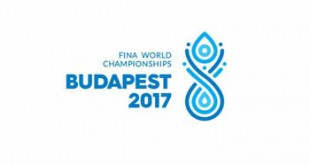 logo of the event with the FINA World Champoinships Budapest 2017 written in blue