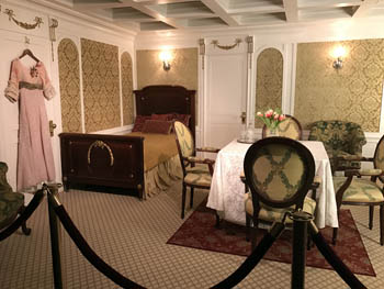 a reconstructed 1st class room interior on the ship
